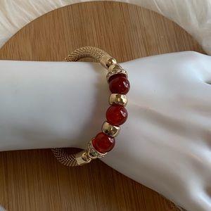 Rhinestone & Red Stretchy Bracelet (EUC)